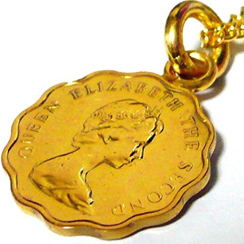 香港 20セントコイン 18金 18K コーティング コイン ネックレス チェーン ペンダント チェーン ゴールド アンティーク (50)