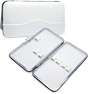 NAGARAKU Tweezers Case Professional for Eyelash Extensions Empty PU Scissors Lash Brushes and Tweezers Set Storage Bag White