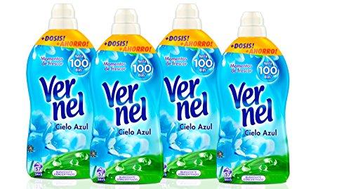 VERNEL Suavizante Concentrado Azul Botella 57 lavados [Pack de 4]