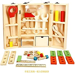 Kids Wooden Construction Tool Kits, Educational DIY Learning Play Workbench for Toddler Workshop Pretend Playset Gift for Boy 3 Year Old and Up (Multicolor)