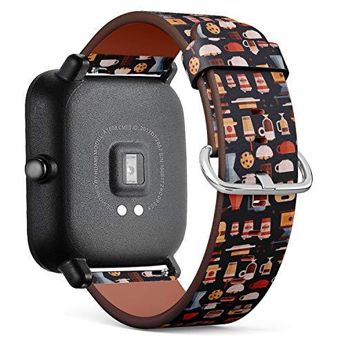 Kompatibel mit Huami Amazfit Bip - Leder-Armband Uhrenarmband Ersatzarmbänder mit Schnellverschluss (Kaffee-Kaffeemaschinen-Kaffeetassen)