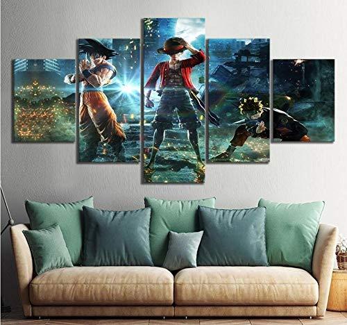 Impresiones sobre Lienzo,5 Piezas Dragon Ball Goku Naruto One Piece Luffy J-Stars Juego Poster HD Pictures Wall Decor Sin Marco Tamaño1