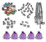 Luxbon Kit per Realizzare 5 Braccialetti Completi di Charm in Stile Europe 25 Perline in Vetro di Murano 10 Charm Tibetani 10 Charm Tibetani Pendenti 5 Ferma Charms e 5 Sacchetti Organza Regalo