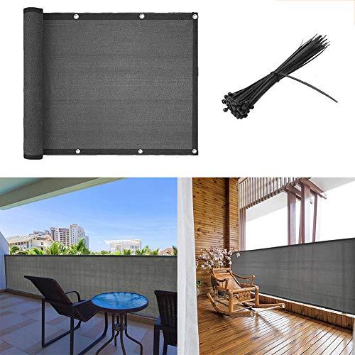Shsyue Brise-Vue/Voiles d'ombrage 500 x 90cm Abriter du Vent/la Pluie/le Soleil pour Balcon Terrasse avec Oeillets Gris