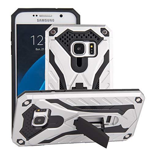 BestST Custodia Samsung Galaxy S7 Cover con Protezione Schermo, Ultra Slim Armatura Antiurto Copertura Dual Layer Heavy Duty Full-Body Robusto Ibrido Guscio Case con cavalletto,Argento