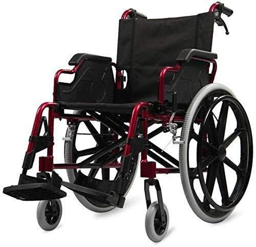Busirsiz Silla de ruedas de empuje de mano ultraligera de aleación de aluminio plegable multifunción para personas mayores discapacitadas scooter de viaje portátil