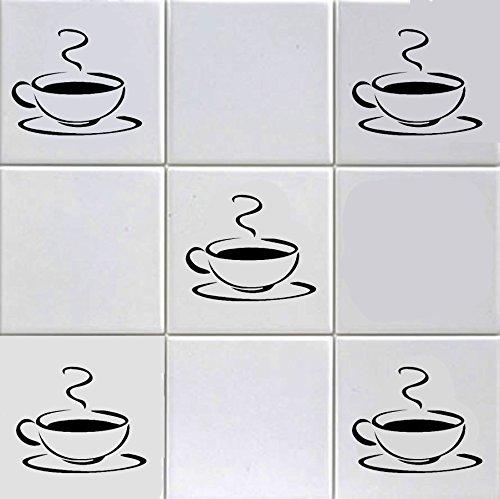 12Fliesenaufkleber mit dem Motiv einer dampfenden Kaffeetasse, für 15,2 cm lange Fliesen, für Küche, Hotel, Bar, Café