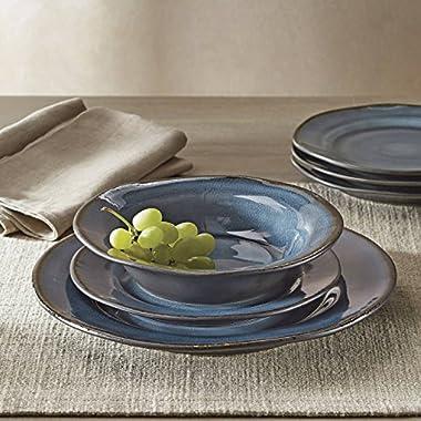 Better Homes and Gardens Modern Stoneware Construction 12-Piece Microwave/Dishwasher Safe Dinnerware Set, Blue