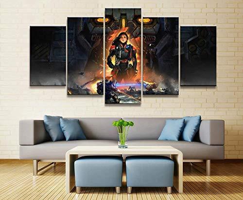 baixiangguo Valkyrie Battle Mechs Juego Pintura Decoración Impresión 5 Imágenes De Arte De Pintura Moderna | Lienzo Decorativo para Sala De Estar O Dormitorio-150 x 80 cm