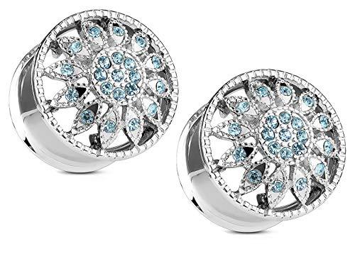 Zaya Body Jewelry ペア ダブルフレア サージカルスチール ブルー クリスタル ジェムゲージ イヤープラグ トンネル 2g 0g 00g 1/2
