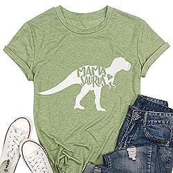5. T&Twenties Mama Saurus Dinosaur Graphic Tee Shirt