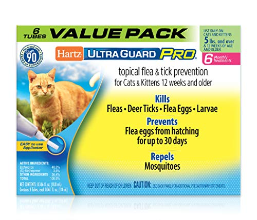 Price comparison product image Hartz UltraGuard Pro Topical Flea & Tick Prevention for Cats & Kittens,  Over 5 lbs 6 Monthly Treatments