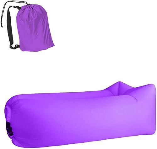 Air lit léger Sac de Couchage Sac Gonflable imperméable à l'eau Paresseux canapé Camping Sacs de Couchage air lit Adulte Plage Chaise Longue Pliage Rapide Violet