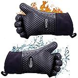 Guanti da forno, guanti da forno, guanti da cucina, guanti da barbecue, resistenti al calore, in silicone, per cucina, barbecue, fino a 300 °C, 2 pezzi