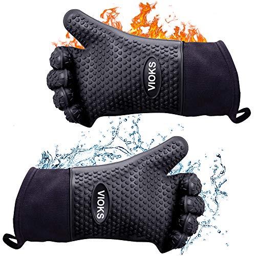 Hitzebeständige Grillhandschuhe Ofenhandschuhe aus Silikon Feuerfest bis 300° C mit Baumwollfutter und Unterarmschutz Plus Trageschlaufe zum Aufhängen Backofenhandschuhe in Schwarz