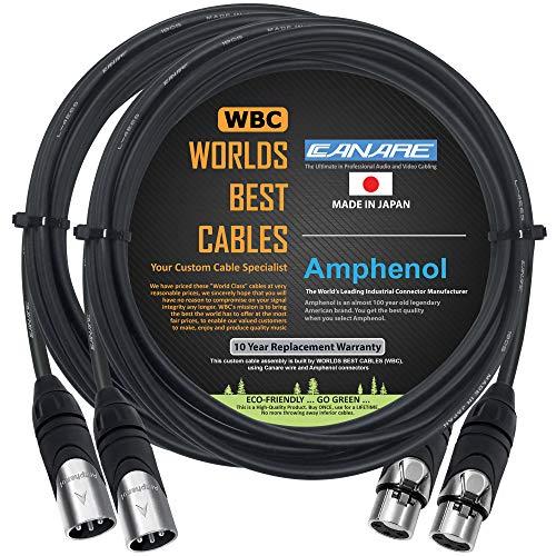 2 unidades – 3 metros – Canare L-4E6S, Star Quad Balanced macho a hembra Cables de micrófono con conectores Amphenol AX3M y AX3F Silver XLR – Hecho a medida por WORLDS BEST CABLES