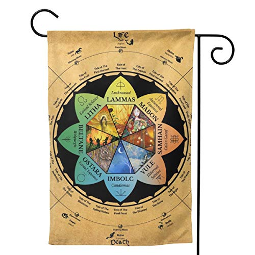 Only Pineapple Wicca Wheel of Year Wiccan Pagan Celtic Calendar Seasonal Family Welcome Double Sided Garden Flag Outdoor Funny Decorative Flags for Garden Yard Lawn Decor Party Gift Many Sizes