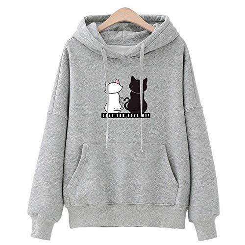 Sweat Capuche Femme, Sweat-Shirt Fille Ado Automne Mignon Chat Pull Oversize Chic Manteau Pas Cher Mode Sweat Shirt Tee Shirt Streetwear Veste Gilet Top T-Shirt (Gris, S)