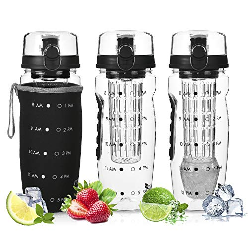 DailyNordic 32 oz Large Fruit Infuser Sports Water Bottle with Insulated Sleeve - BPA-Free, Leak Proof -Full Length Infusion Basket, Flip-Top-Hydration Timeline Tracker-Detachable Ice Gel Ball Black