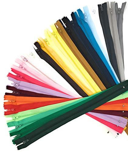 Craft it Assortiment 25 Fermetures éclair 12cm - 25 Coloris Tendances - Fermeture à glissières Couture DIY