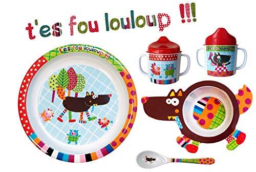 EBULOBO - Coffret Repas Complet Mixte - Cadeau Naissance - Assiette à Rebord, Cuillère, Bol en Forme de Louloup, Mug avec Couvercle Anti-Gouttes.