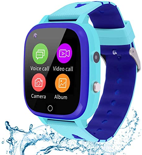 cjc 4G GPS Smart Watch Phone for Children, Kids Anti-Lost Smartwatch IP67 Waterproof Supports Video Chat, Messages, SOS Function, GPS Location, Camera and Pedometer for Boys and Girls - Blue