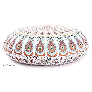 Aakarshan 32  Puff Brown Red Mirchi Mandala Floor Pillow Cushion Seating Throw Cover Hippie Decorative Boho This is a Cover only
