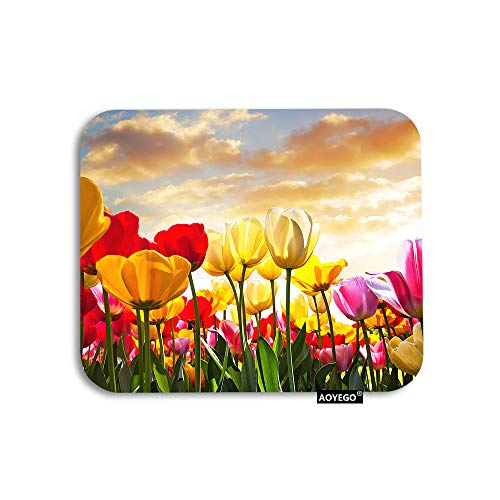 AOYEGO Tulip Mouse Pad Floral Field at Sunset Cloud Pink Yellow Tulip Flower Green Leaves Gaming Mousepad Rubber Large Pad Non-Slip for Computer Laptop Office Work Desk 9.5x7.9 Inch