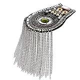 LINPAN Tableros de Hombro charretera Blazer Hombro Borla Cadena Metal Epaulettes Cuentas Punk Fringe Epault (Oro) Accesorios de Vestuario (Color : Silver)