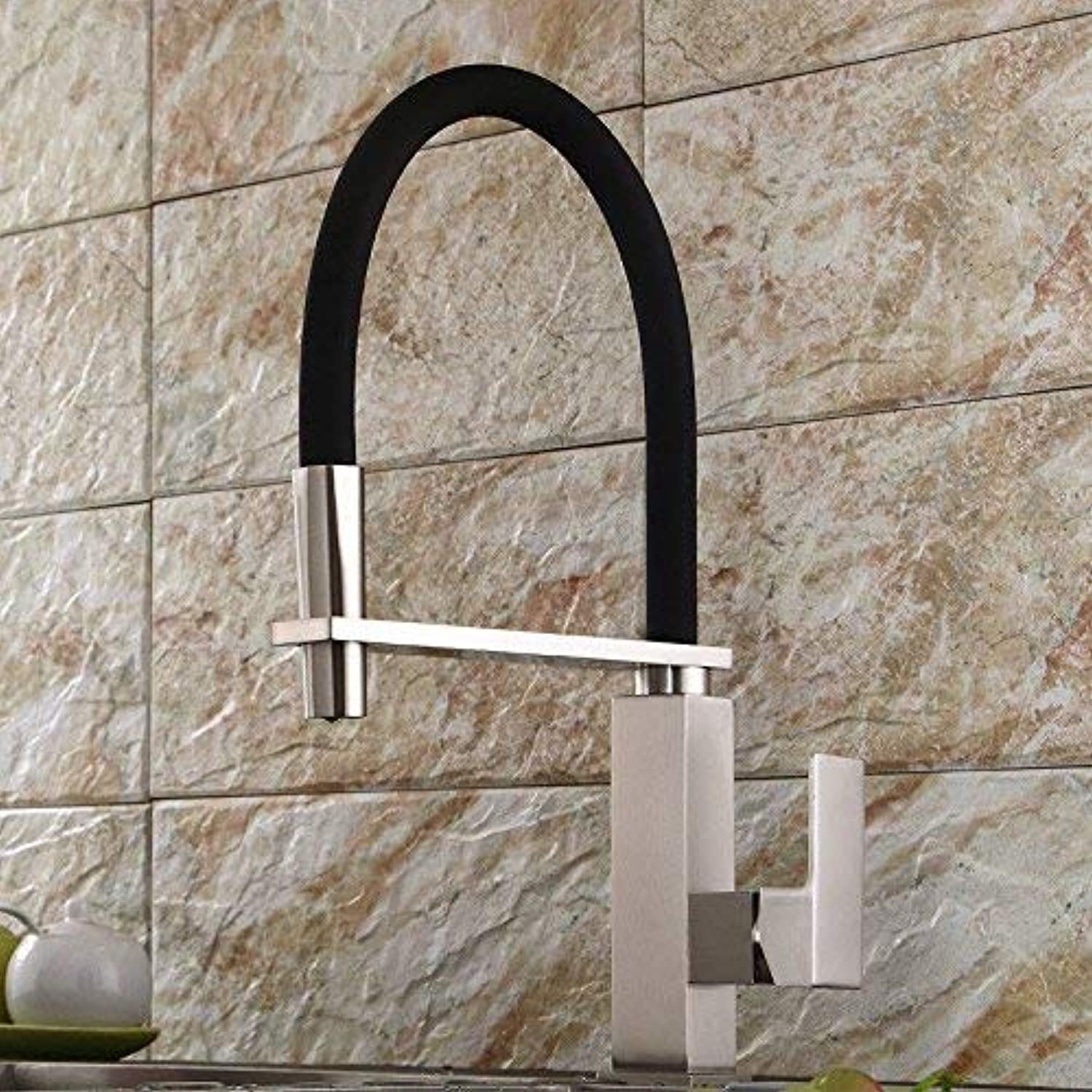 Oudan Bathroom Sink Basin Tap Brass Mixer Tap Washroom Mixer Faucet The copper kitchen faucet hot and cold redary spring turn the faucet brushed Kitchen Sink Ta