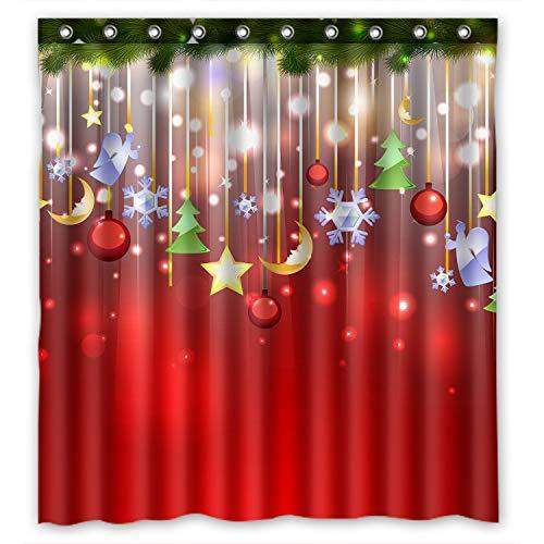 ZHANZZK Duschvorhang mit weihnachtlichem Weihnachtsbaum & Schneeflocken aus wasserdichtem Polyestergewebe, 168 x 183 cm