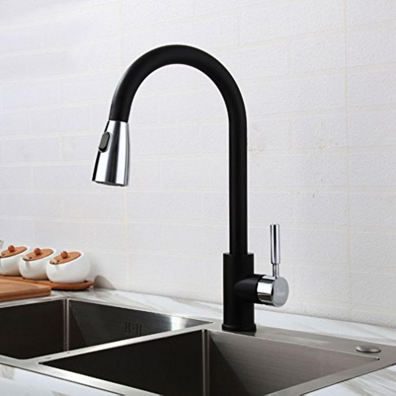 Ausziehbar Küchenarmatur mit Brause 360°Drehbar Wasserhahn Ausziehbar Zwei Funktionen Chrom Schwarz PHASAT CFCLHC