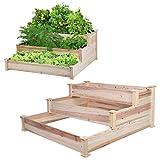 Cocoarm Paletten Hochbeet Palettenrahmen aus Holz Gartenbett für Gemüse Blumen Pflanzer Kräuterbeet für Garten Terrasse und Balkon, 123 x 124,5 x 53 cm - 4