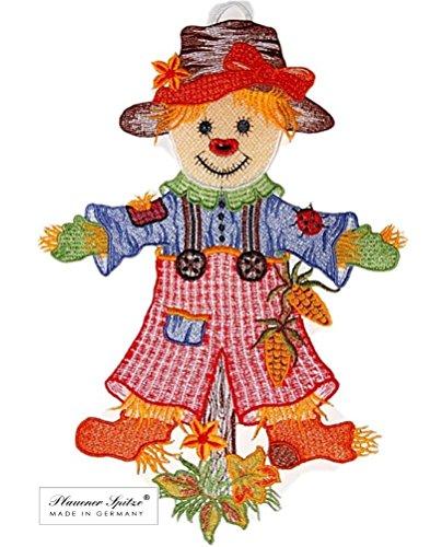 Fensterbild Plauener Spitze ® 25x37 cm + Saugnapf Stickerei Vogelscheuche Spitzenbild Herbst Halloween