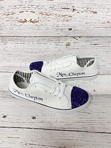Personalized Bride Shoes Wedding Reception Sneakers White Canvas Photography Props Bridal Shower Gift Custom Tennis Small Parties