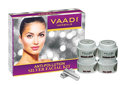 Vaadi Herbals Facial Kit - Silver Facial Kit With Pure Silver Dust, Rosemary And Lavender Oil, Sandalwood Paste All Natural Suitable For All Skin Types 70 Grams -