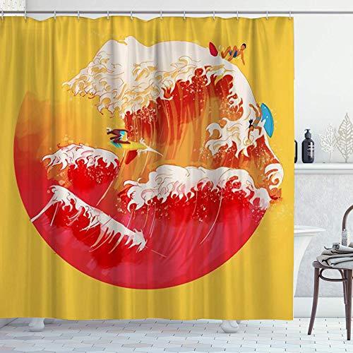 DYCBNESS Duschvorhang,Space Artistic Yellow Kreative japanische Hokusai The Great Waves Surfen,Langhaltig Hochwertig Bad Vorhang Polyester Stoff Wasserdichtes Design,mit Haken 180x180cm