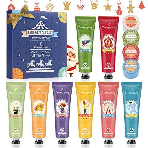Set de Crema de Manos, Bálsamo labial, Eleanore's Diary Set de Regalo de 8 PCS Crema de Manos y 4 PCS Bálsamo labial, Crema de Manos Nutritiva con Vitamina C y E, Mejor Regalo para Navidad