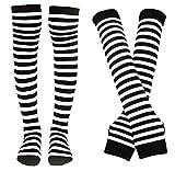 Bienvenu - Calcetines para mujer a rayas hasta la rodilla con calentador de brazos y guantes sin dedos - Blanco - Talla única