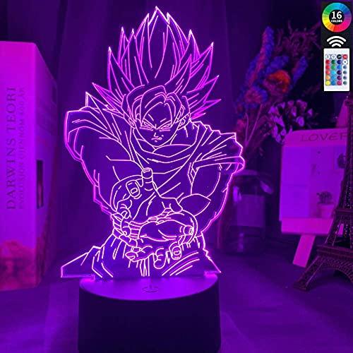 Lámpara De Ilusión 3D Luz De Noche Led Dragon Ball Z Goku Para Decoración De Habitación De Niños Regalo De Cumpleaños De Chico Único Anime Gadget