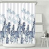 Duschvorhang, Duschvorhang 180x180cm Wasserdichter, Badezimmer-Duschvorhang Trennvorhang für den Haushalt, Wasserdichter Duschvorhang aus Polyester (Blue)