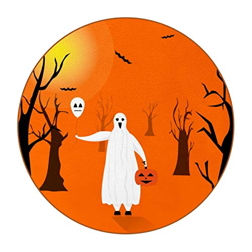 Bennigiry Disfraz de Halloween con Risa Feliz de Cuero Tapetes Redondos Resistentes al Calor para Tazas Taza de café Tapetes Individuales para Tazas de Vidrio, 6 Piezas