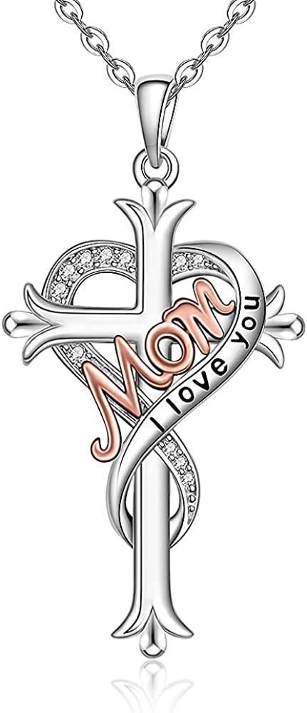 Fenthring Heart Cross Mom Necklace Mother Sister Matching OFFicial site Daught Translated