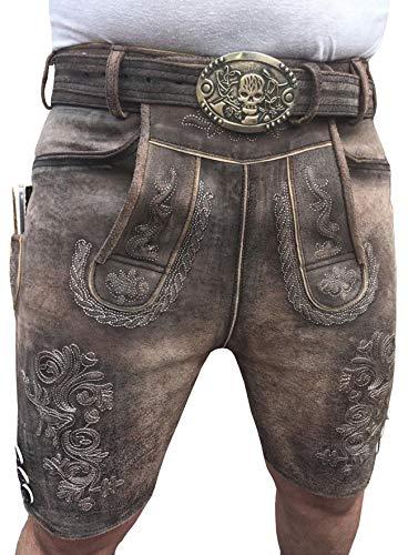 Royal Kurze Herren Lederhose Trachten Lederhosen mit beidseitigen Messertaschen und Leder Gürtel, Braun, Wildleder Gr 46-64 (52)