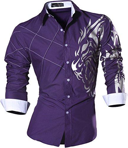 jeansian Men's Slim Loin Tattoo Long Sleeve Dress Shirt Z030 Purple L