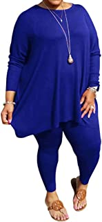 Womens Sexy 2 Piece Plus Size Outfits - Ombre Loose Half Sleeve Slit Shirt Tops Bodycon Pants Set Clubwear Tracksuit