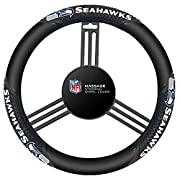 Easily stretches to fit most steering wheels Team logos and colors Attaches snugly Heavy gauge vinyl Officially licensed