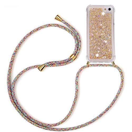 Mkej Glitter liquida Case Colgante movil con Cuerda para Colgar iPhone 5/ 5S/ SE 2016 Cuerda Funda, con Correa Colgante - Carcasa Transparente de TPU Cristal Silicona Bling Carcasa [Arcoiris]