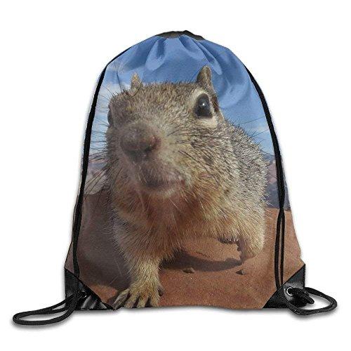 Yuanmeiju Galaxy Cat Laser Basic Mochila con cordón Workout Sackpack for Men & Women School Travel Bag Cute Squirrel Face
