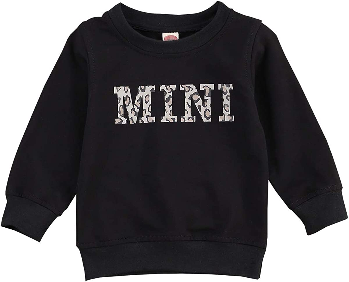 Toddler Baby Girl Boy Mini Letter Print Sweatshirt Long Sleeve Shirts Pullover Sweater Tops Fall Winter Clothes